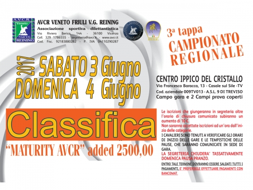 Classifica regionale dopo la 3 tappa AVCR 2017